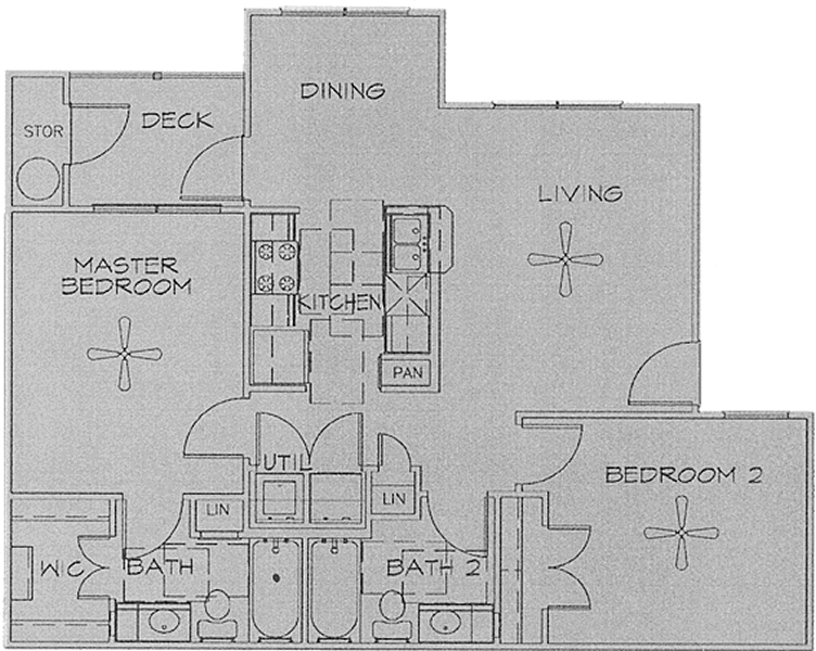 Two Bedroom / Two Bath - 920 Sq. Ft.*