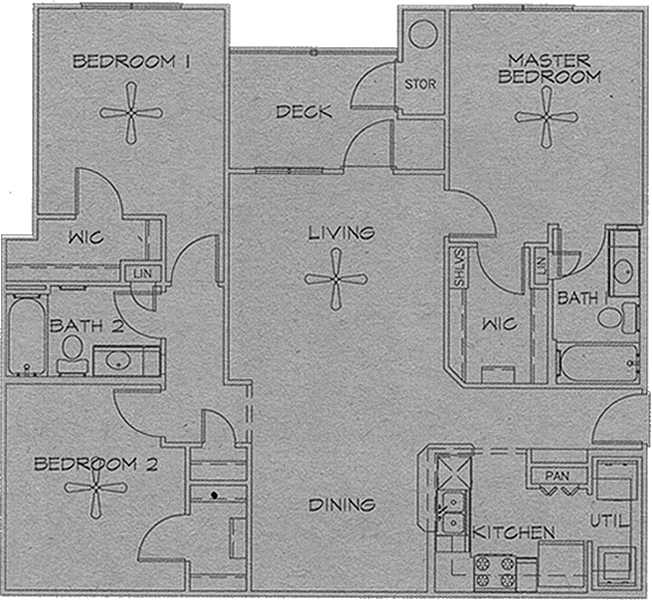 Three Bedroom / Two Bath - 1,261 Sq. Ft.*